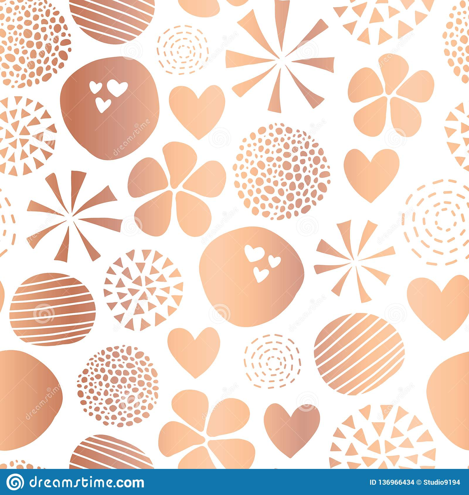 Copper Foil Abstract Seamless Vector Pattern With Flowers Dots Hearts On White Background Cute Rose Gold Metallic Foil Feminine Stock Vector Illustration Of Decor Backdrop 136966434