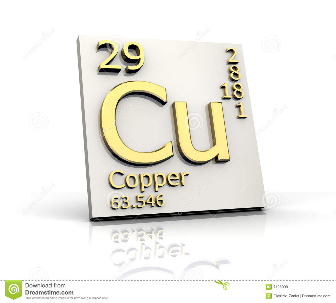 Copper Form Periodic Table Of Elements Stock Illustration