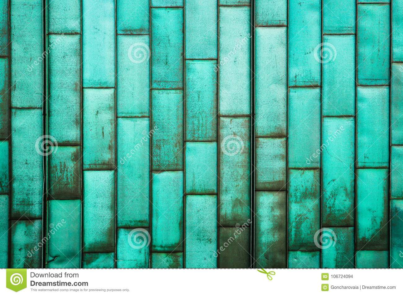The Copper-green Sheathing Of The Building. Old Grunge Metal Tiles ...