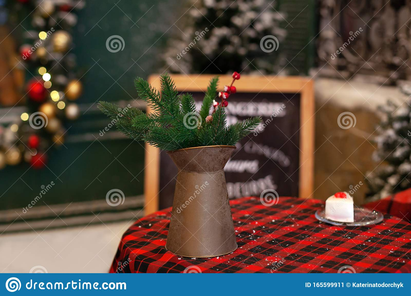 A Copper Jug And Fir Branches Stand On Table Christmas Decorations Stock Image Image Of Antique Decoration 165599911
