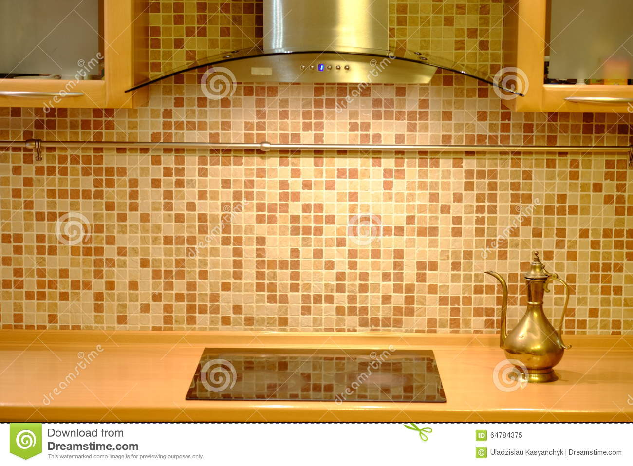 Copper Kettle On The Kitchen Wall Background Stock Image