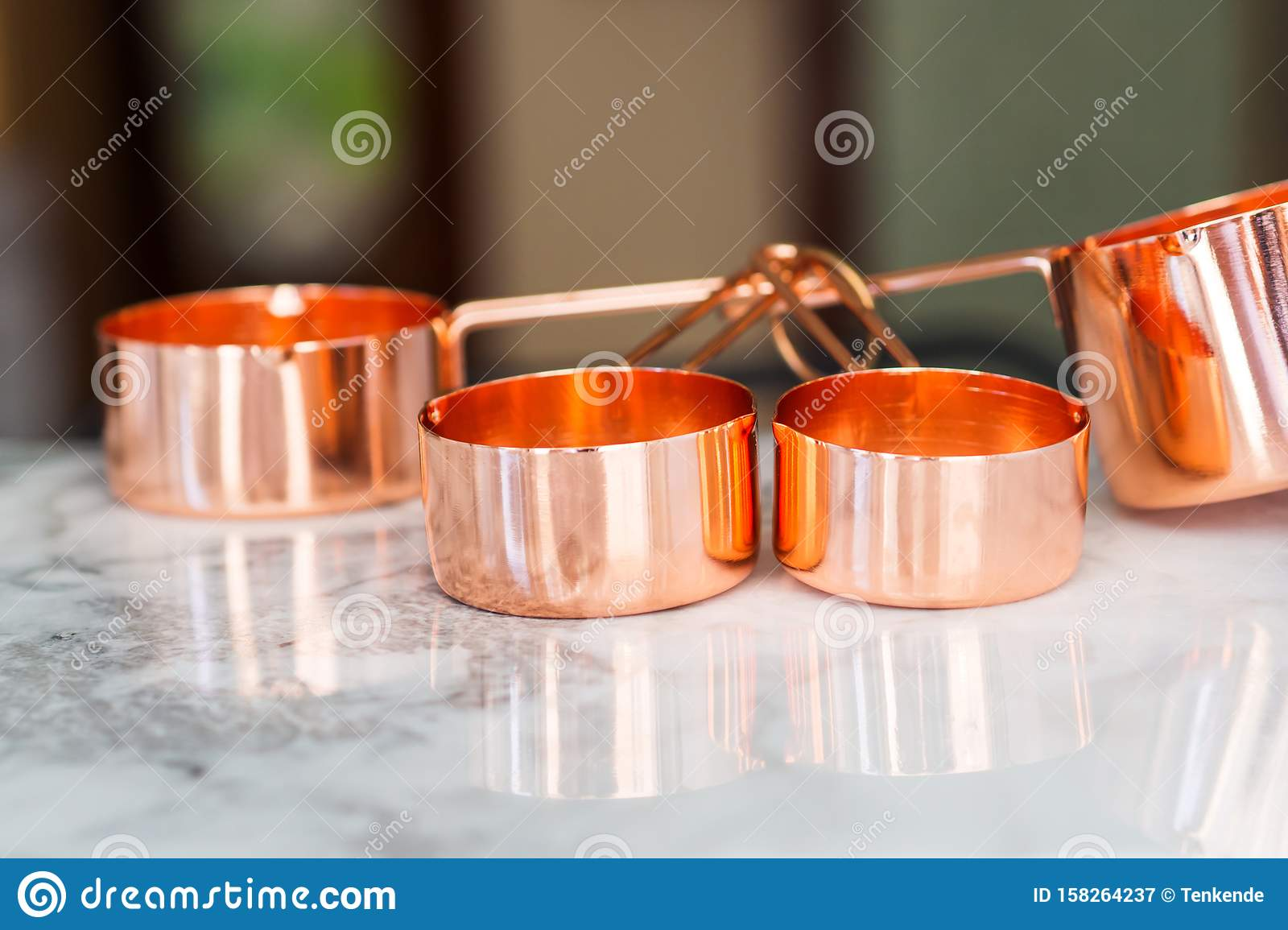 Copper Cups On Marble Ready To Cook Stock Image Image Of Concept Weigh 158264237