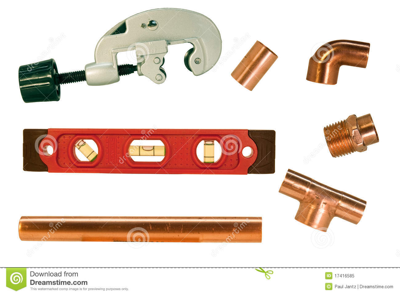 Copper pipe fittings and cutter stock image image 17416585 for Copper water pipe fittings types