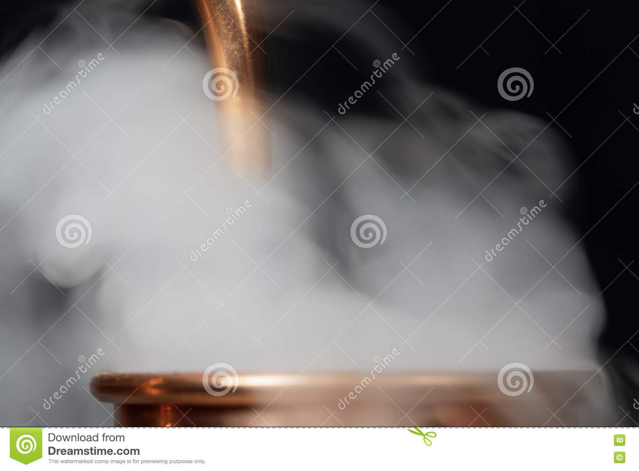 Copper pipe with steam stock image  Image of essential