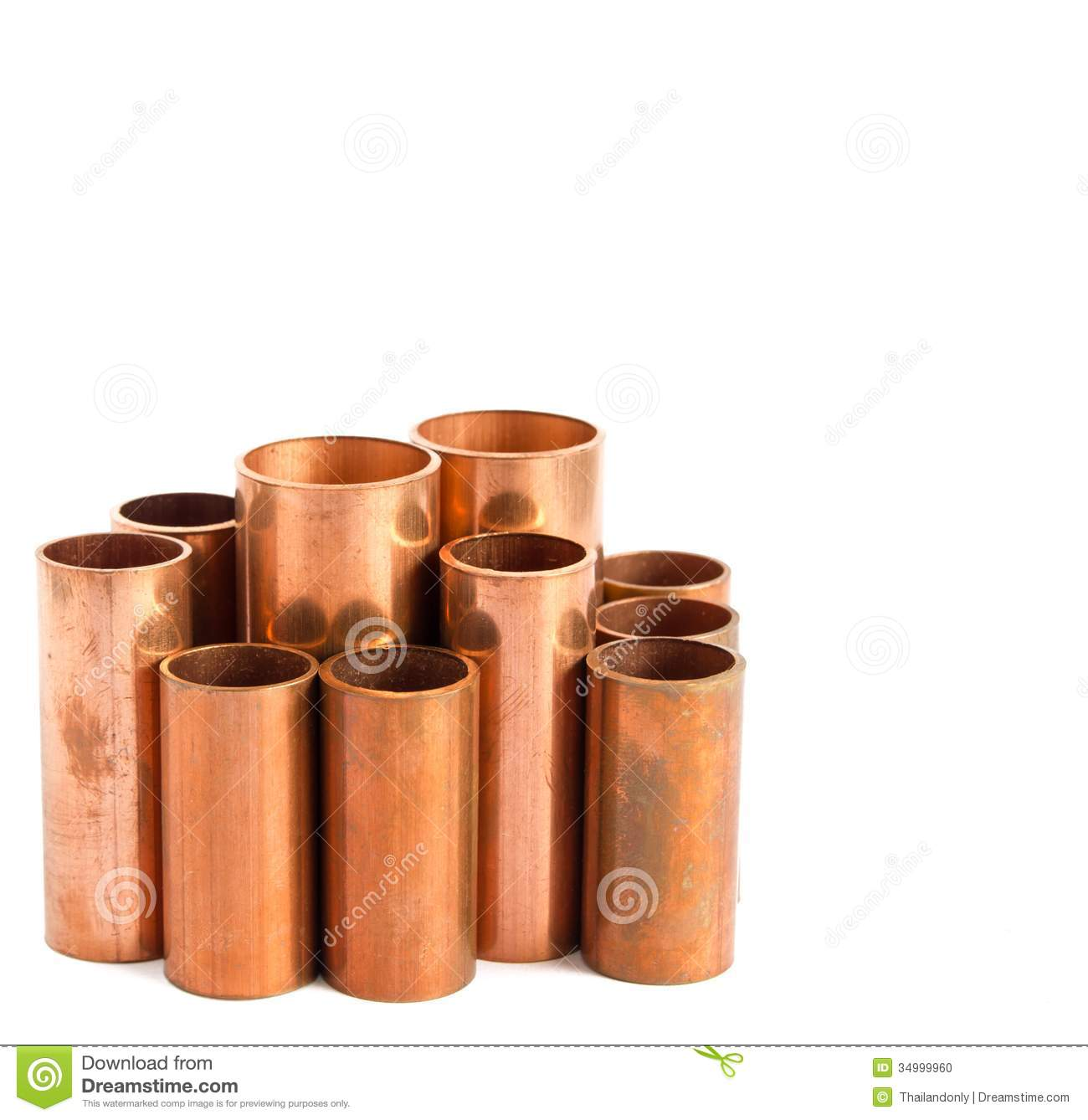 Copper pipe stock photo image of piping diameter lying for Used copper pipe