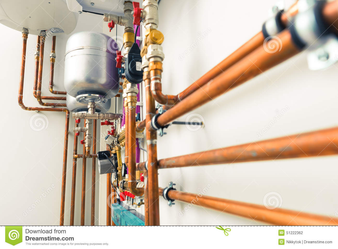Steam Leak From Pipe : Copper pipes engineering stock photo image of