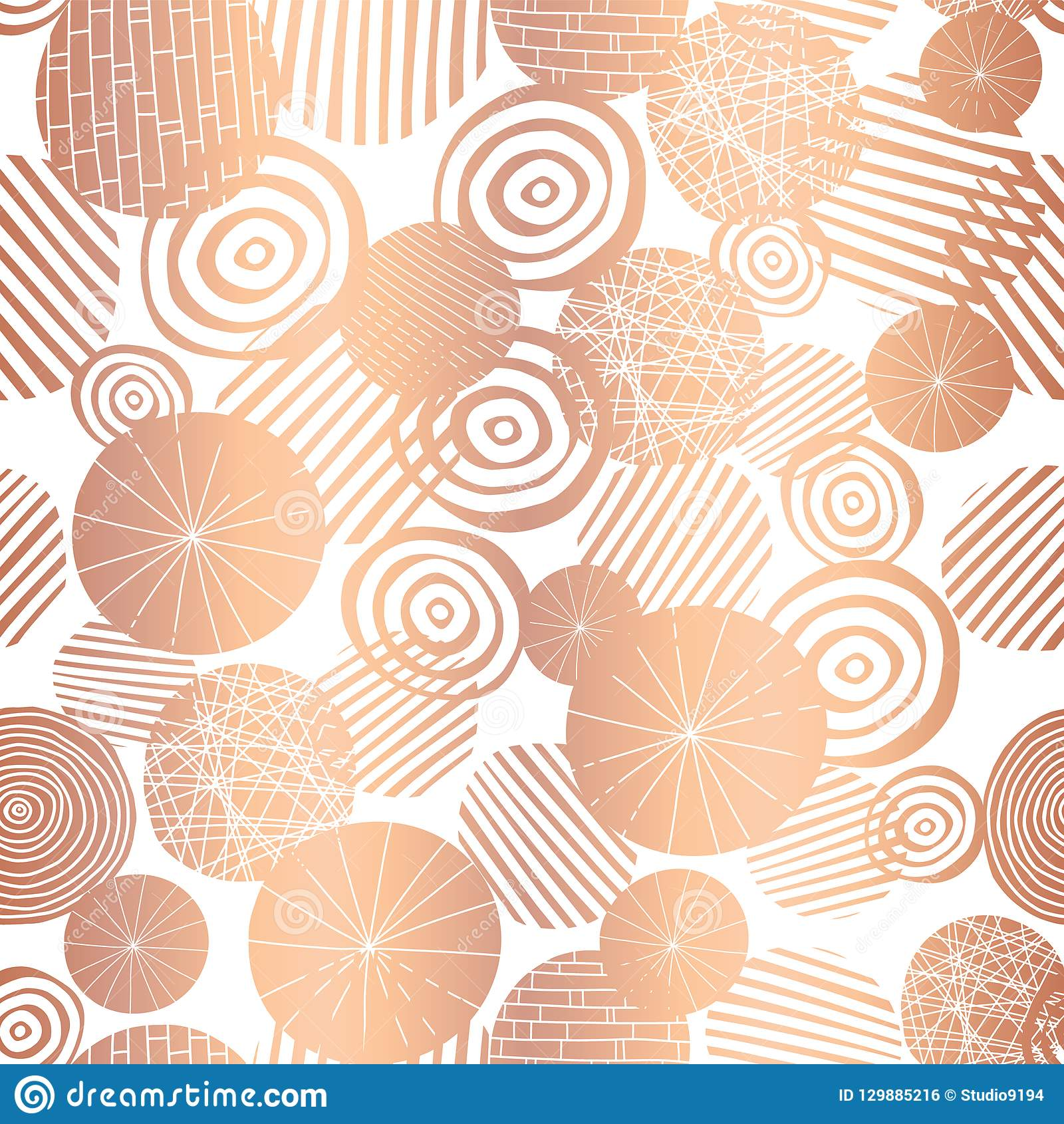 2a2a2a6d27a0 Copper rose gold foil textured circle shapes seamless vector pattern. Shiny  metallic abstract circles on