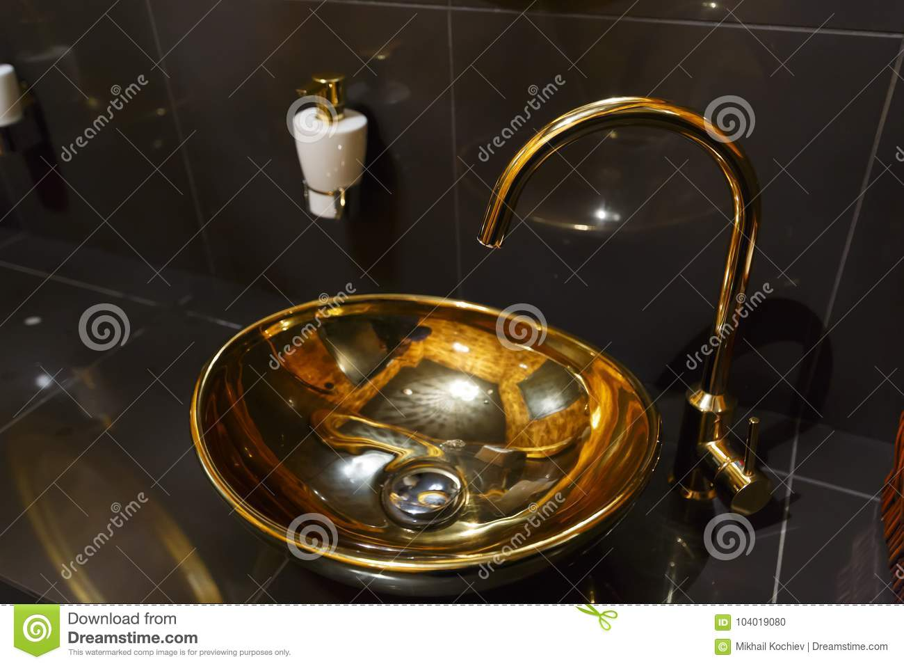 Copper Sink In A Cafe In The Toilet Stock Photo - Image of ...
