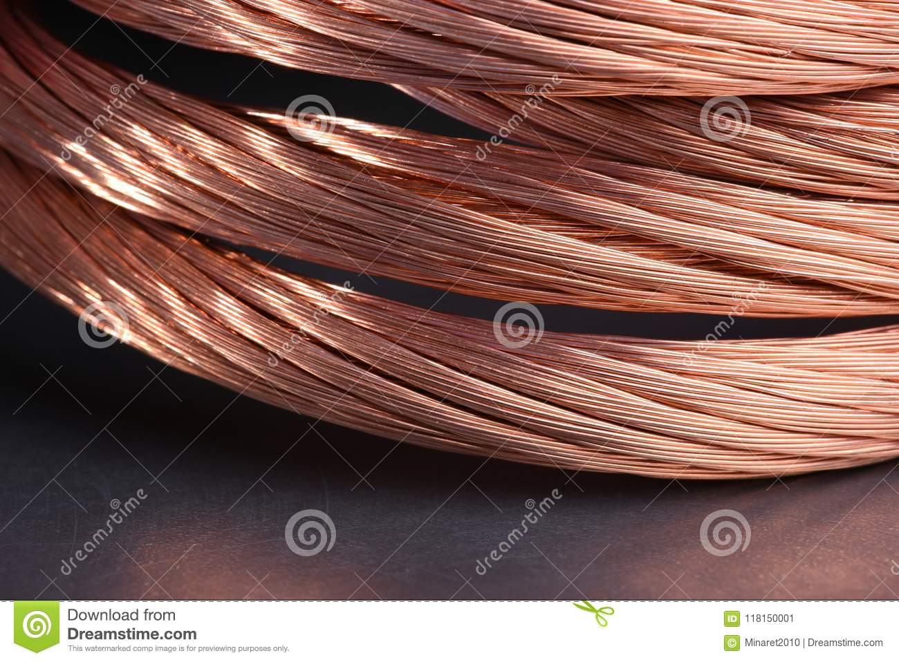 Copper Wire Raw Materials And Metals Industry Closeup Stock Image Wiring