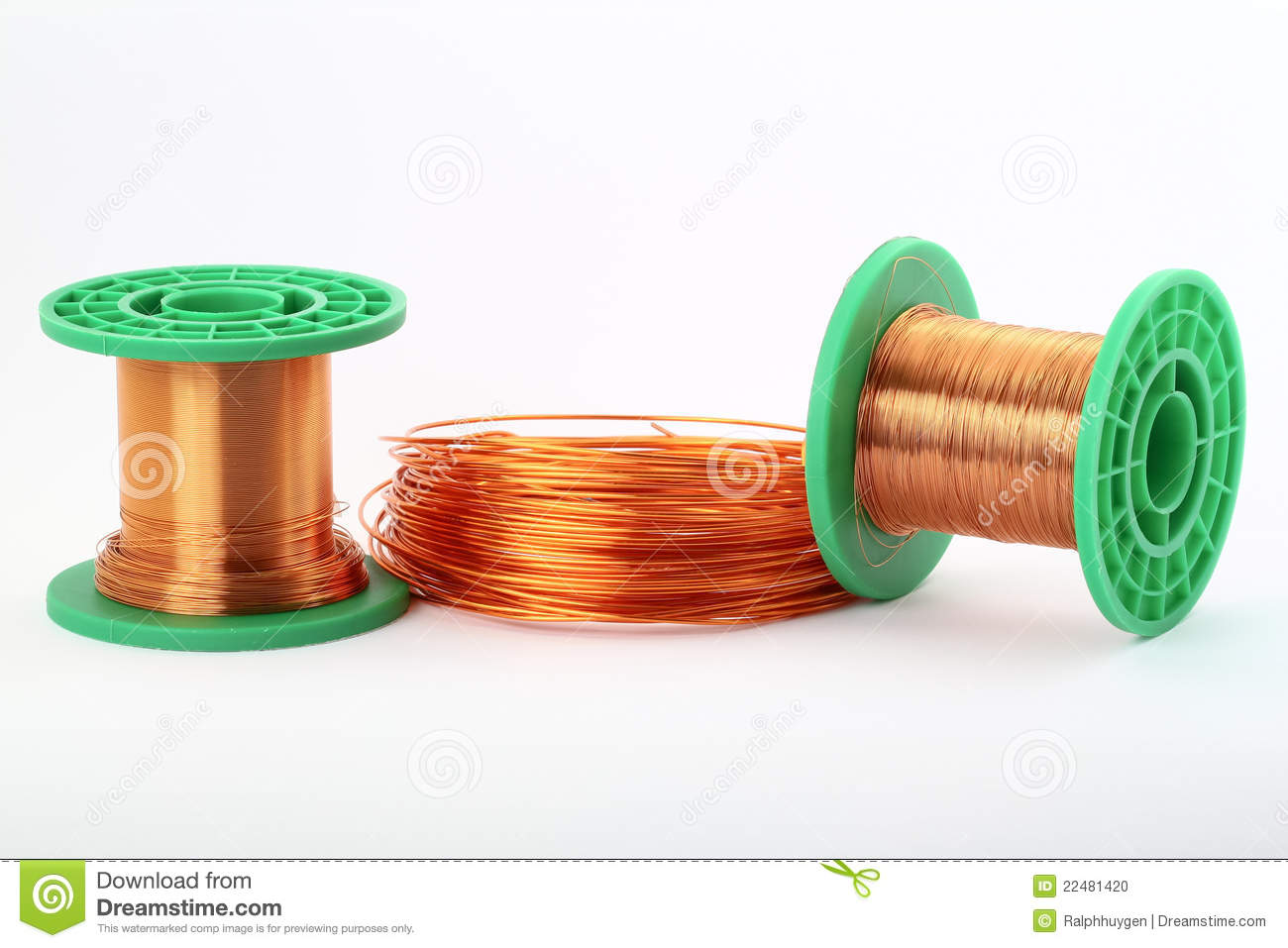 Copper Cable Rolls : Copper wire on rolls white stock photo image