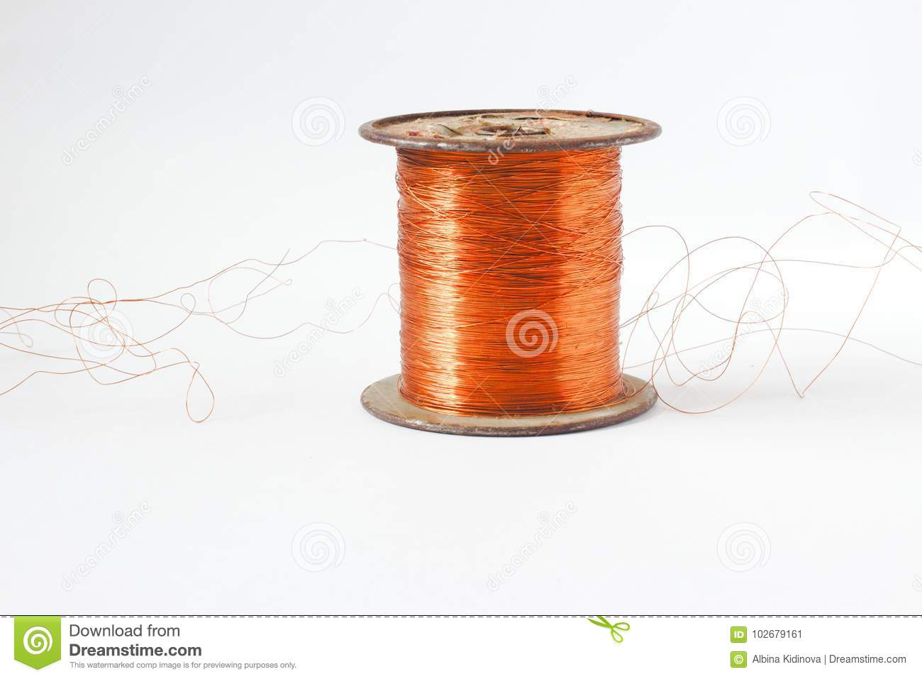 Copper Wire Spool. Red Insulated Wire Wound Up On Plastic Spindle ...