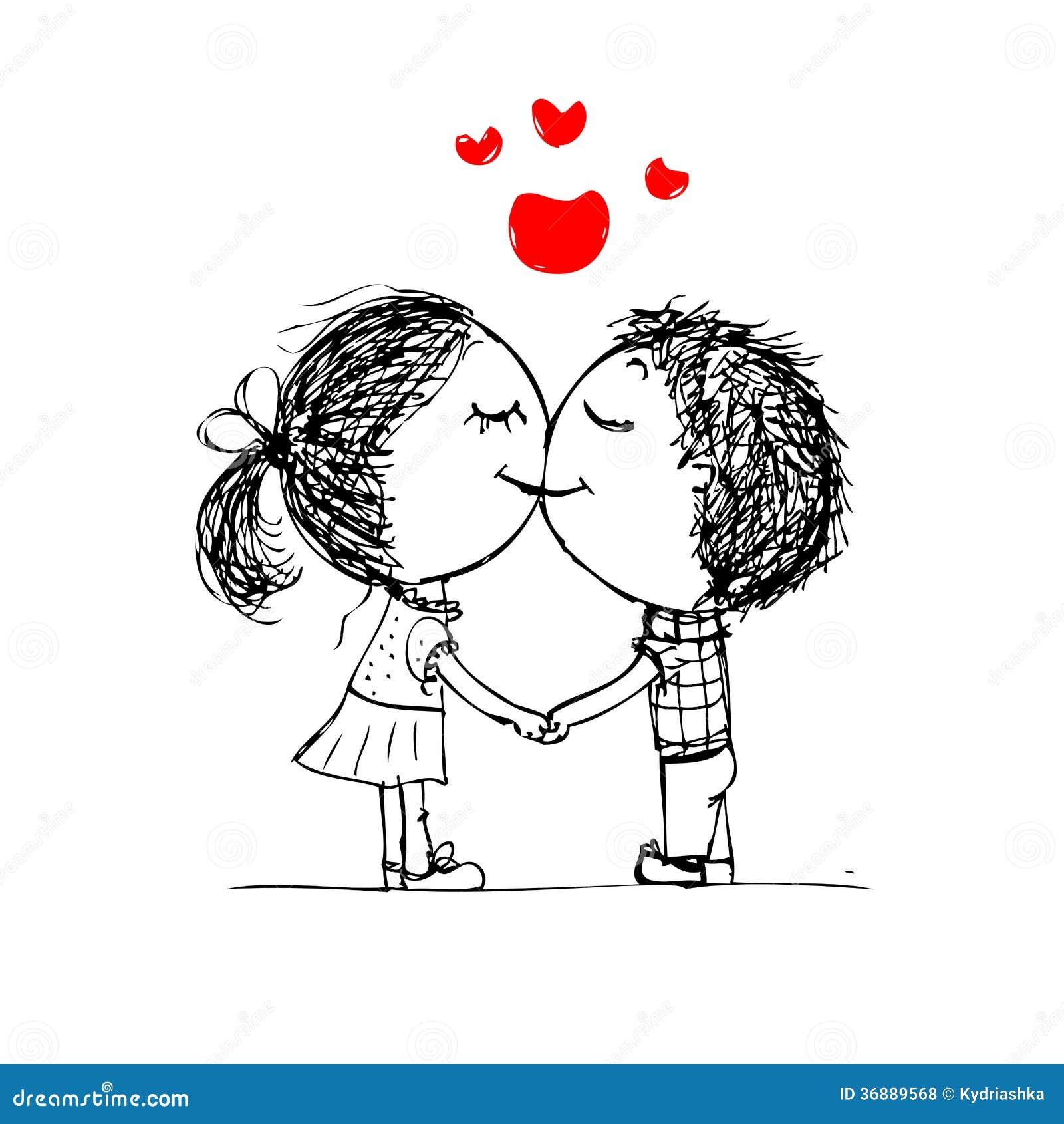 Download Coppia Baciare, Schizzo Del Biglietto Di S. Valentino Per La Vostra Progettazione Illustrazione Vettoriale - Illustrazione di cute, nero: 36889568