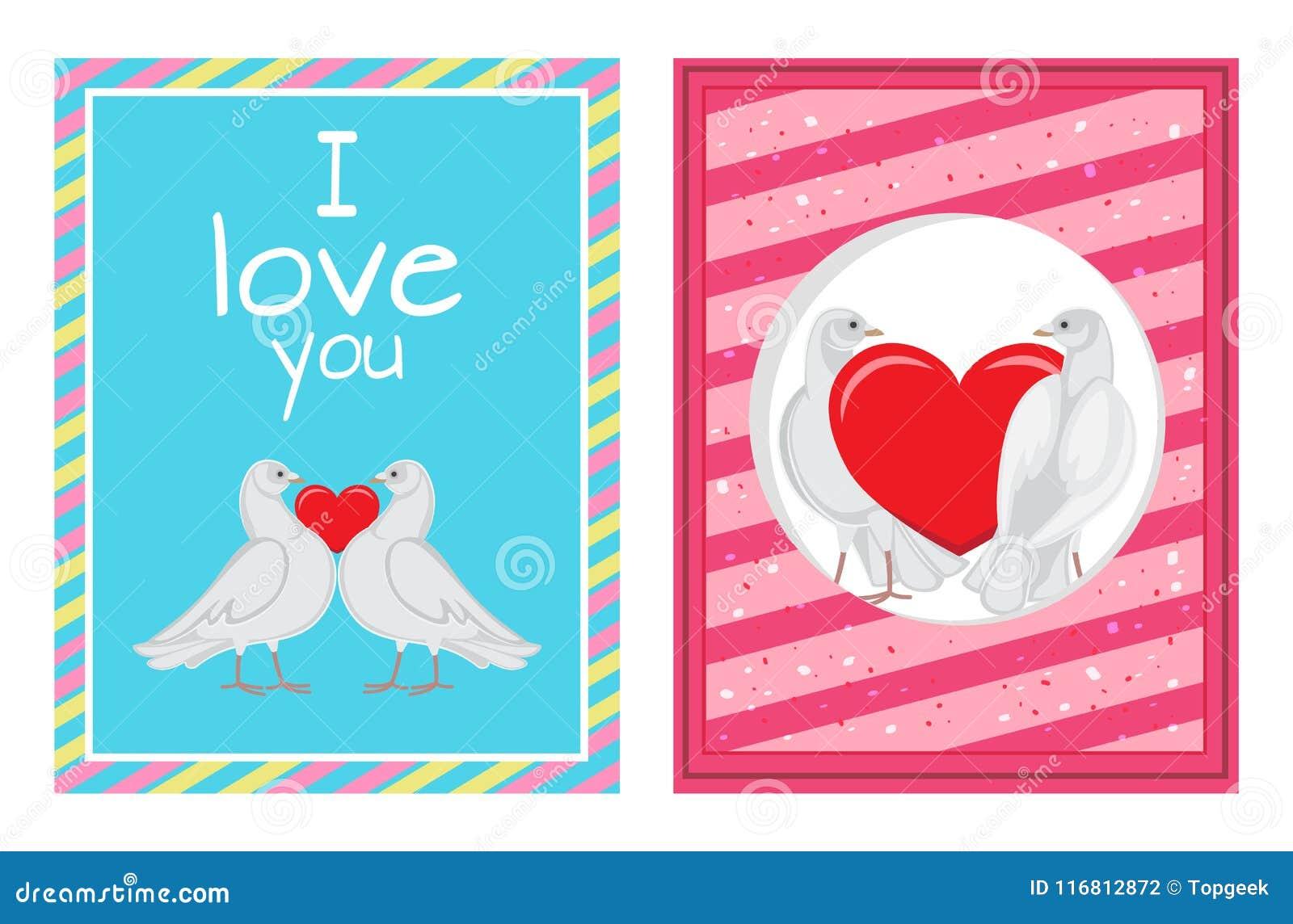 Coppie bianche delle colombe con le illustrazioni del cuore messe
