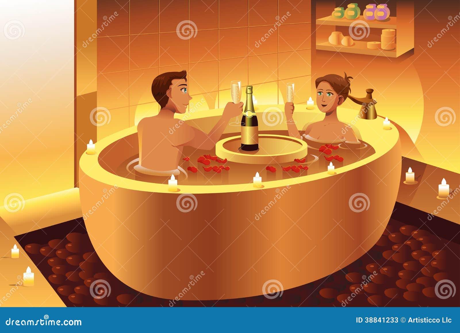Bagno Romantico Foto : Coppie che godono di un bagno romantico illustrazione vettoriale