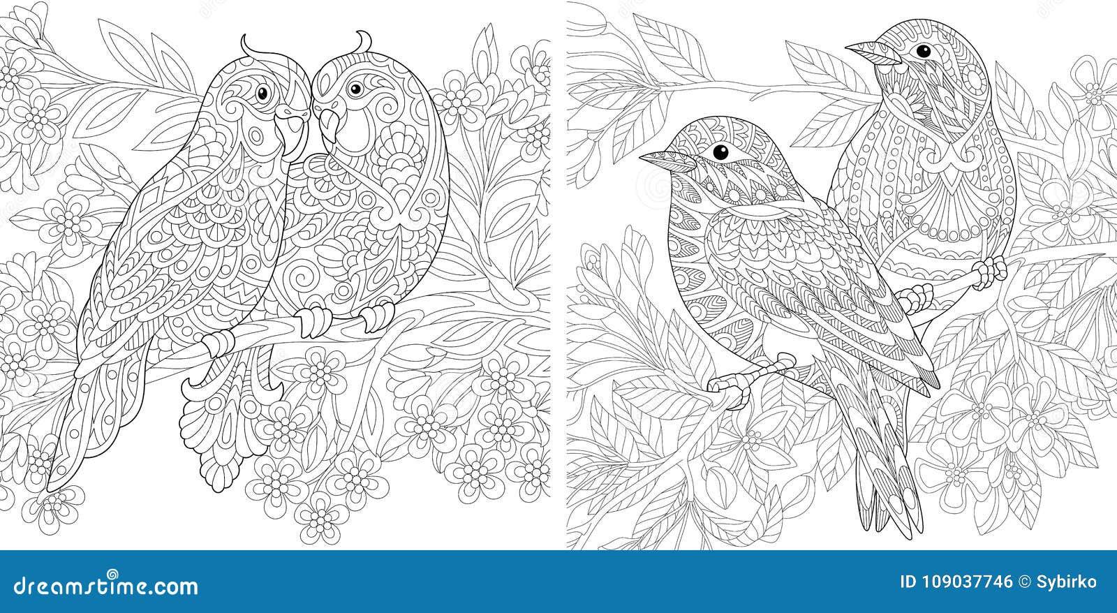 Coppie Degli Uccelli Della Primavera Nell Amore Illustrazione