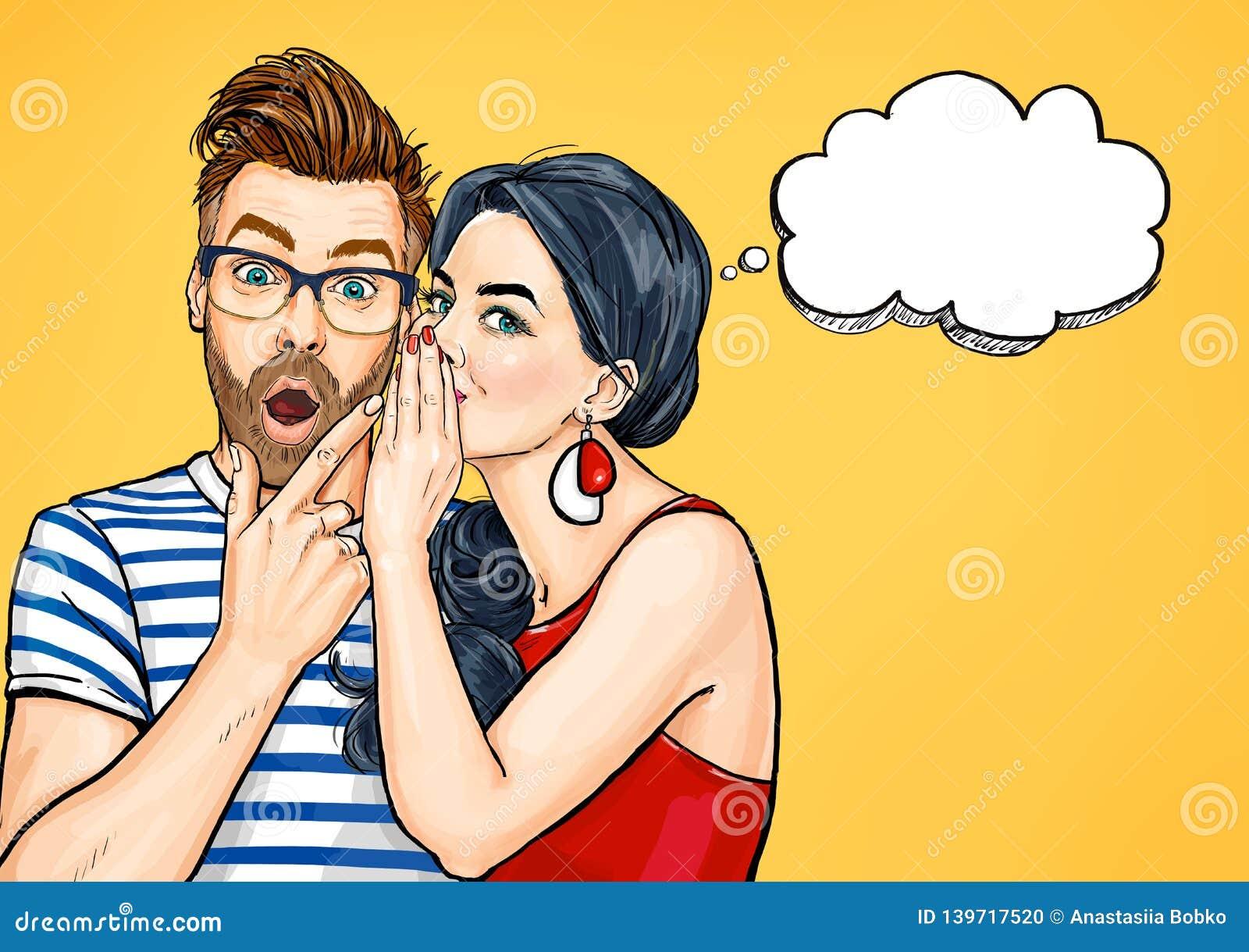 Coppie del gossip Uomo stupito e donna che parlano di qualcosa Conversazione della gente di Pop art