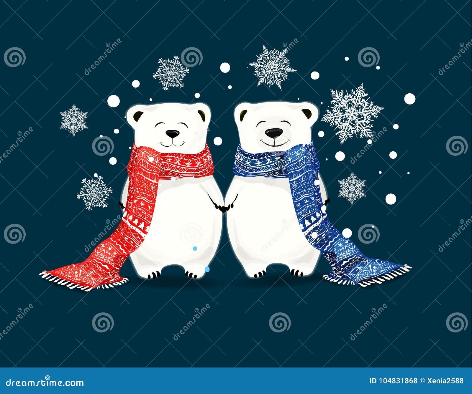 Coppie di piccoli orsi polari svegli con i fiocchi di neve Natale e sciarpa conceptred nuovo anno e