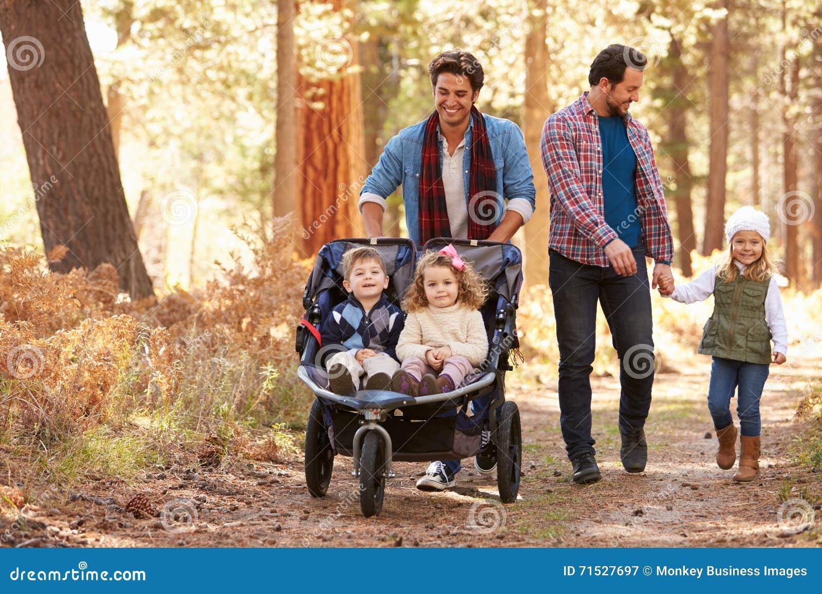 Coppie maschii gay che spingono i bambini in carrozzino attraverso il legno