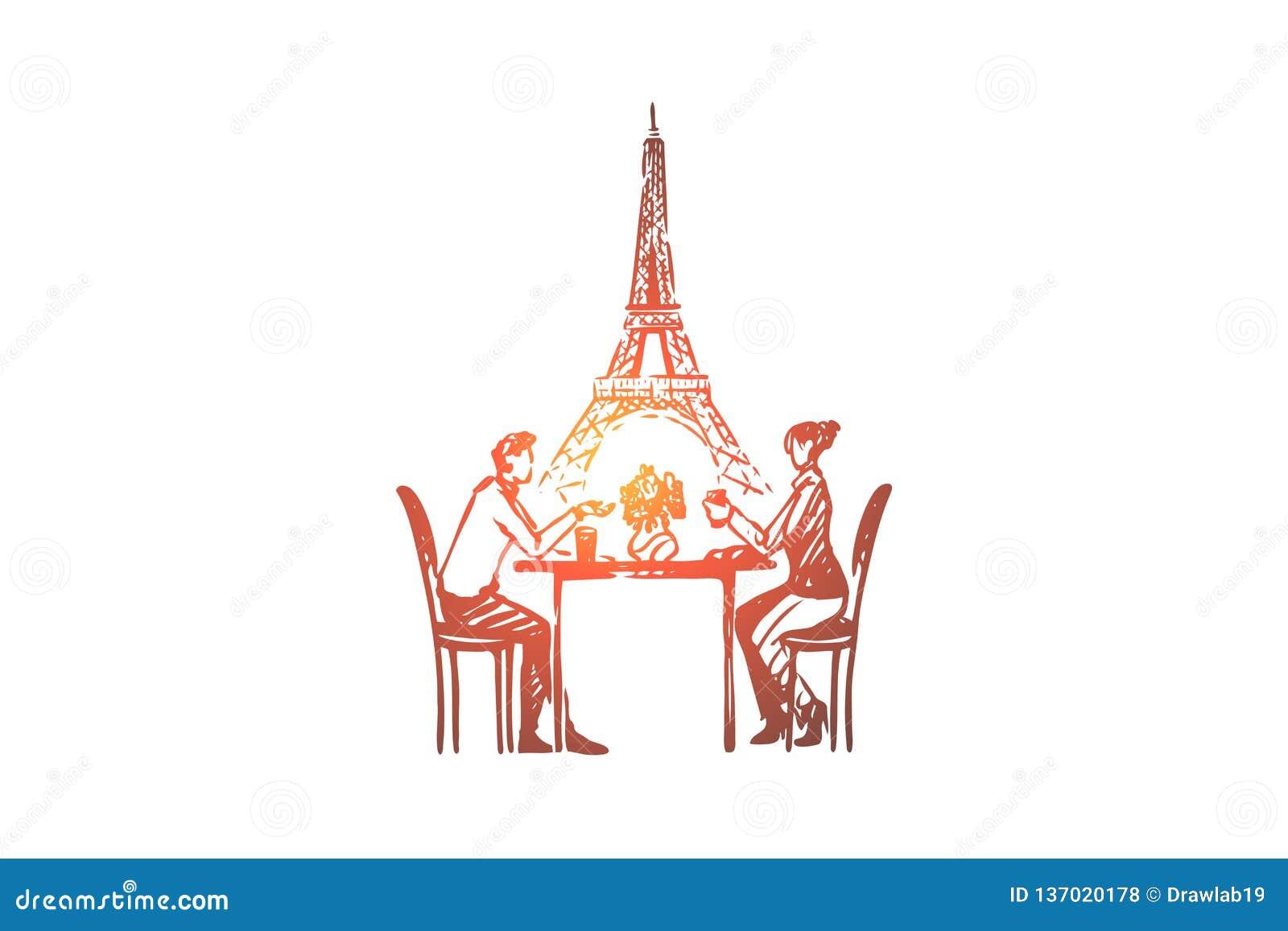 Coppie, Parigi, amore, romanzesco, concetto di sensibilità Vettore isolato disegnato a mano