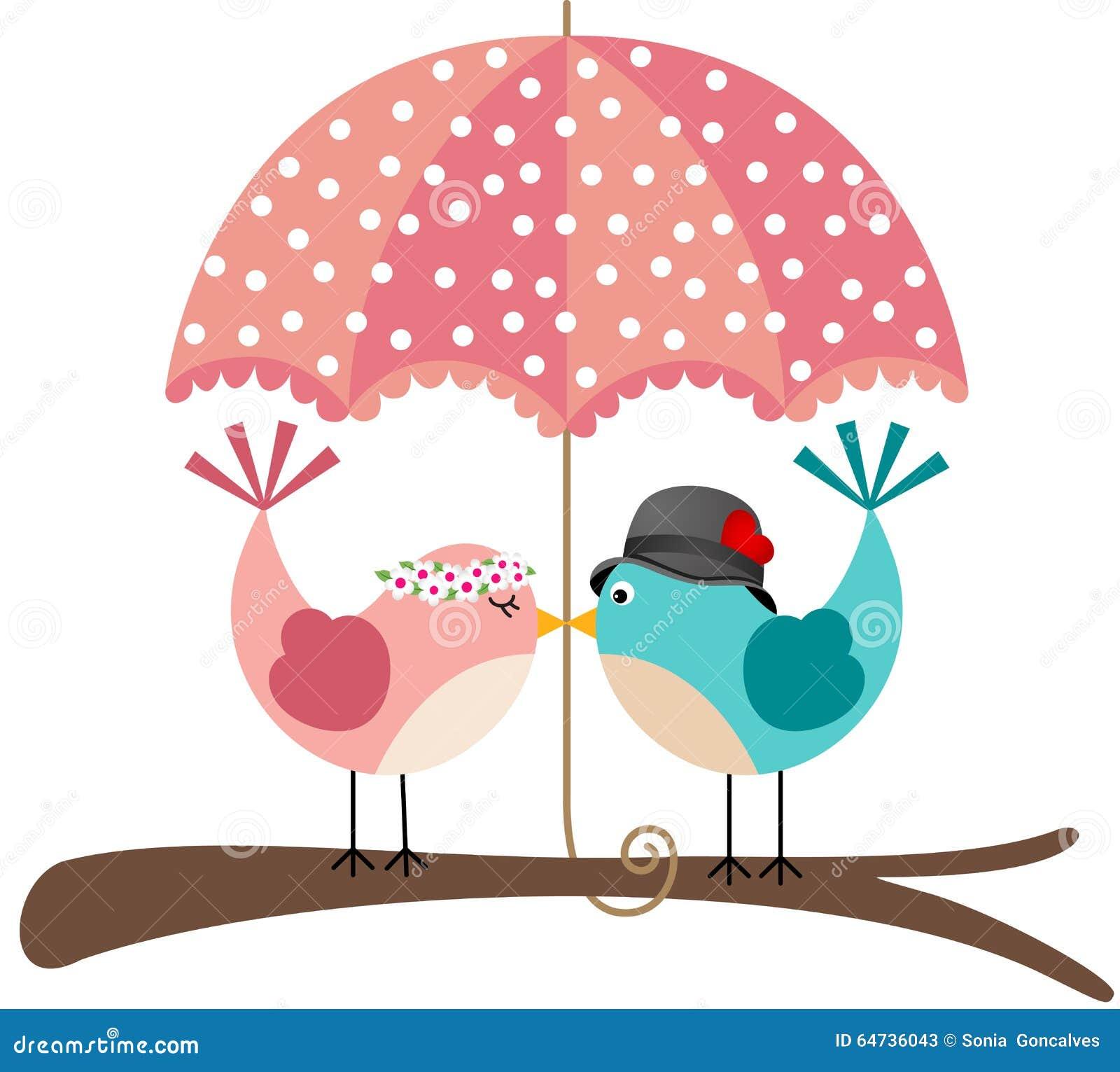 Coppie sveglie degli uccelli sotto l ombrello