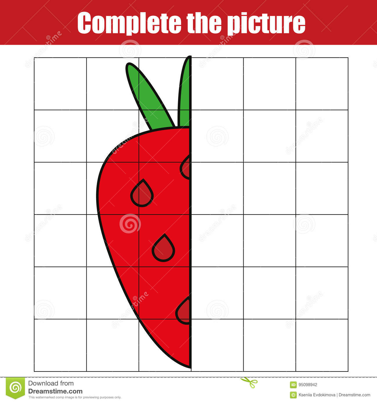 Copy By Grid. Complete The Picture Children Educational Game ...