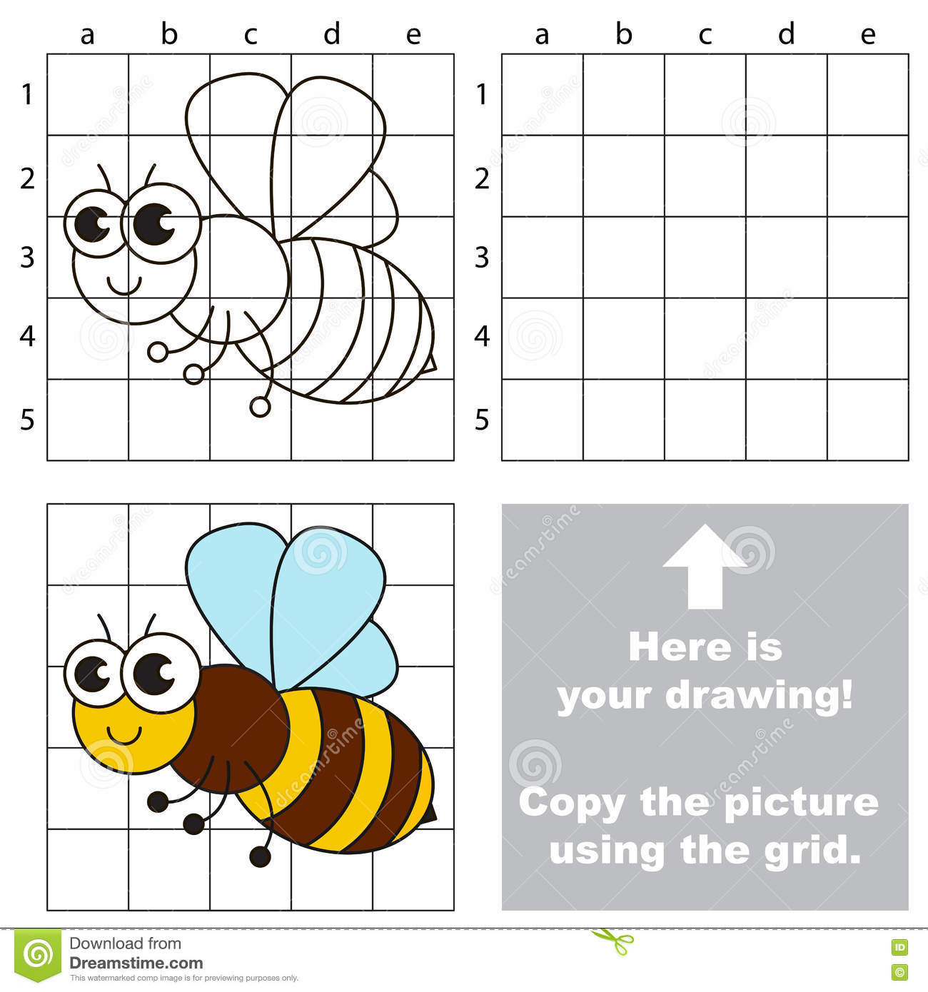 Drawing Using Grid Lines : Copy the image using grid bee stock vector