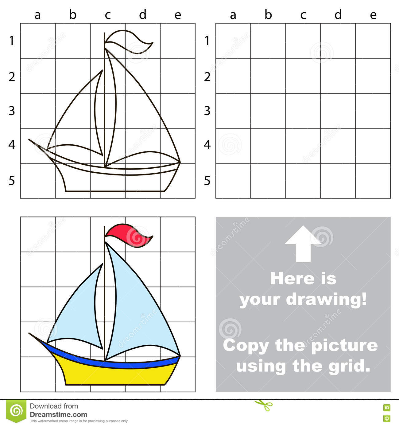 Drawing Lines Game : Copy the image using grid boat stock vector