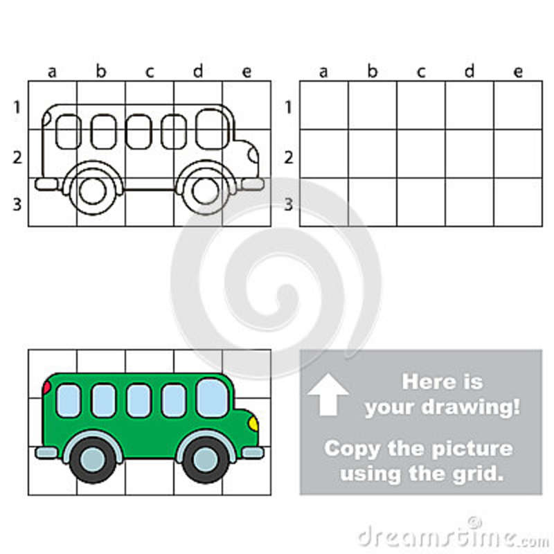 Copy The Image Using Grid Bus Stock Vector Illustration Of Cell