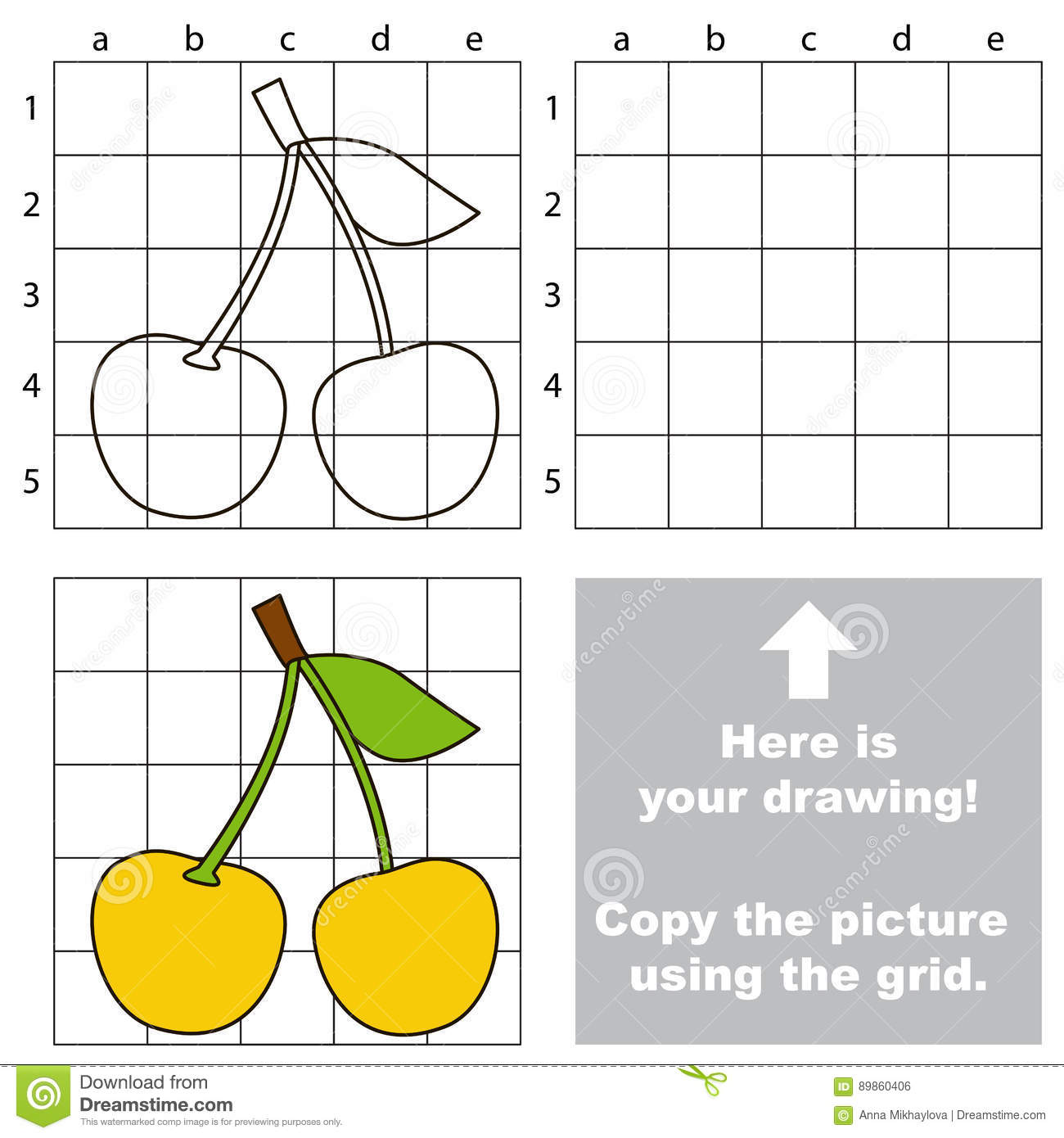 Simple Drawing Using Lines : Copy the image using grid cartoon berries stock vector