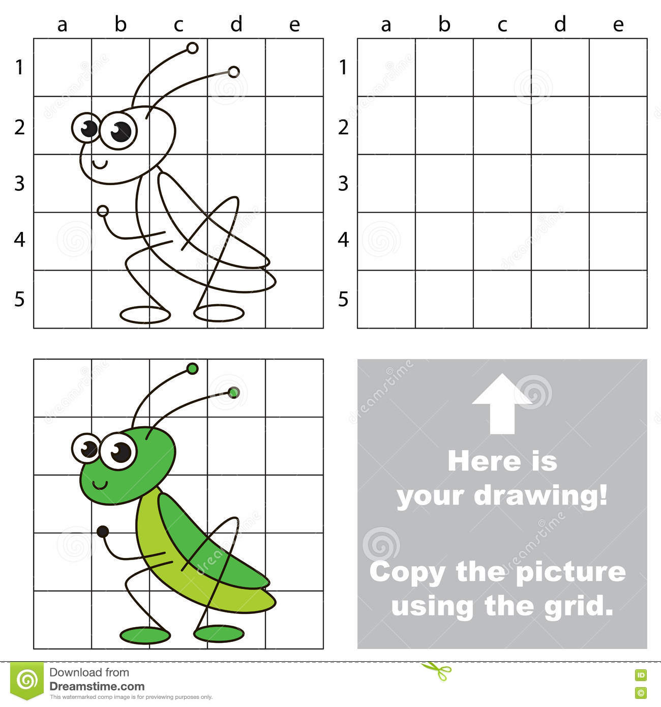 Simple Drawing Using Lines : Copy the image using grid grasshopper stock vector