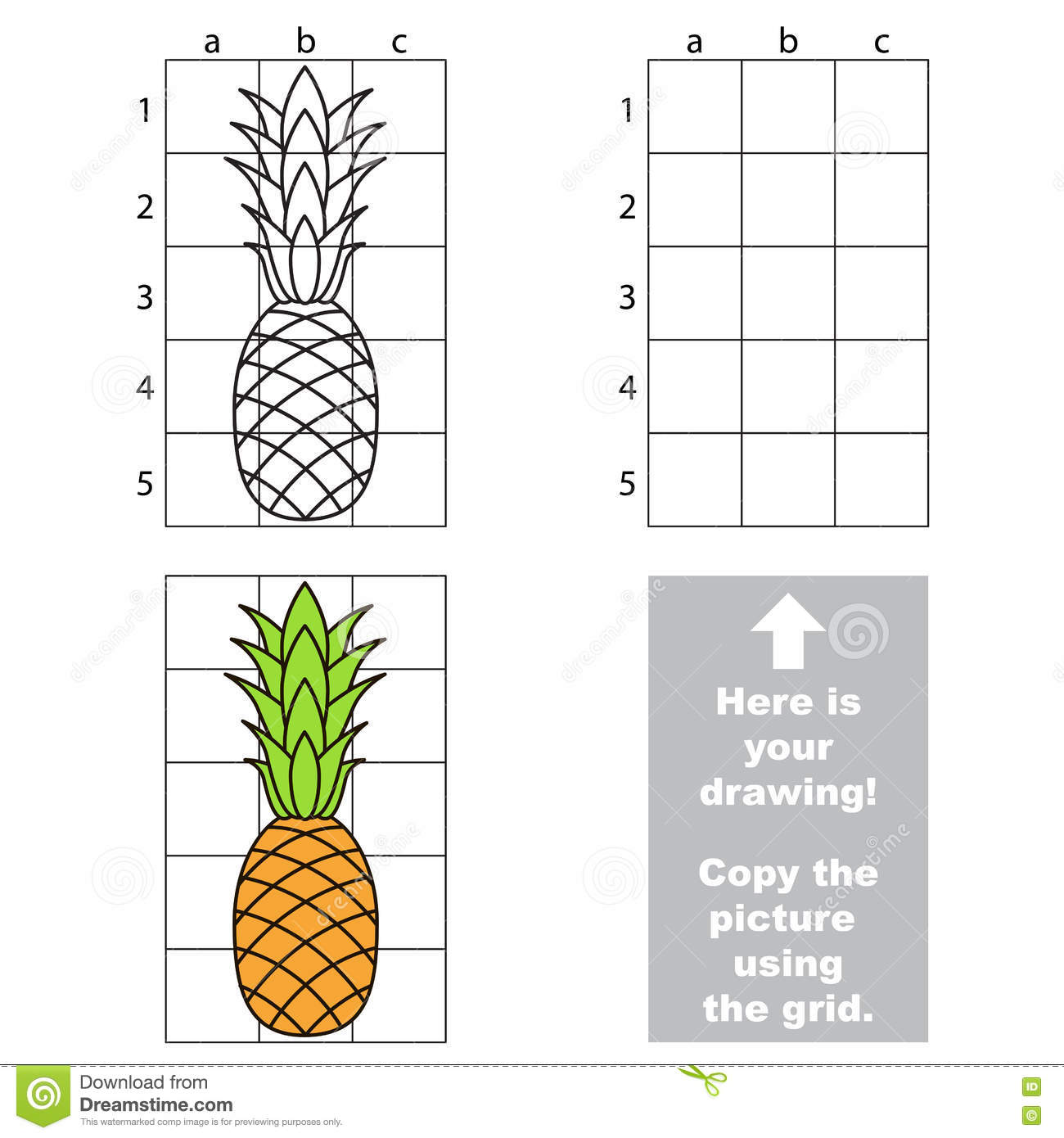 Copy The Image Using Grid Pineapple Stock Vector Illustration Of