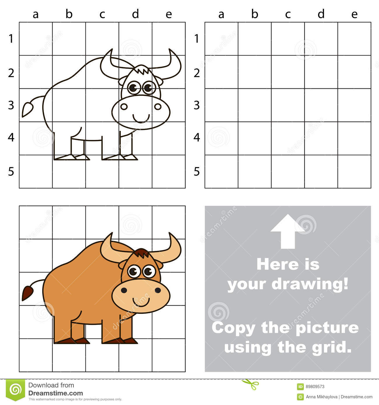 Copy The Image Using Grid The Simple Educational Kid Game Stock