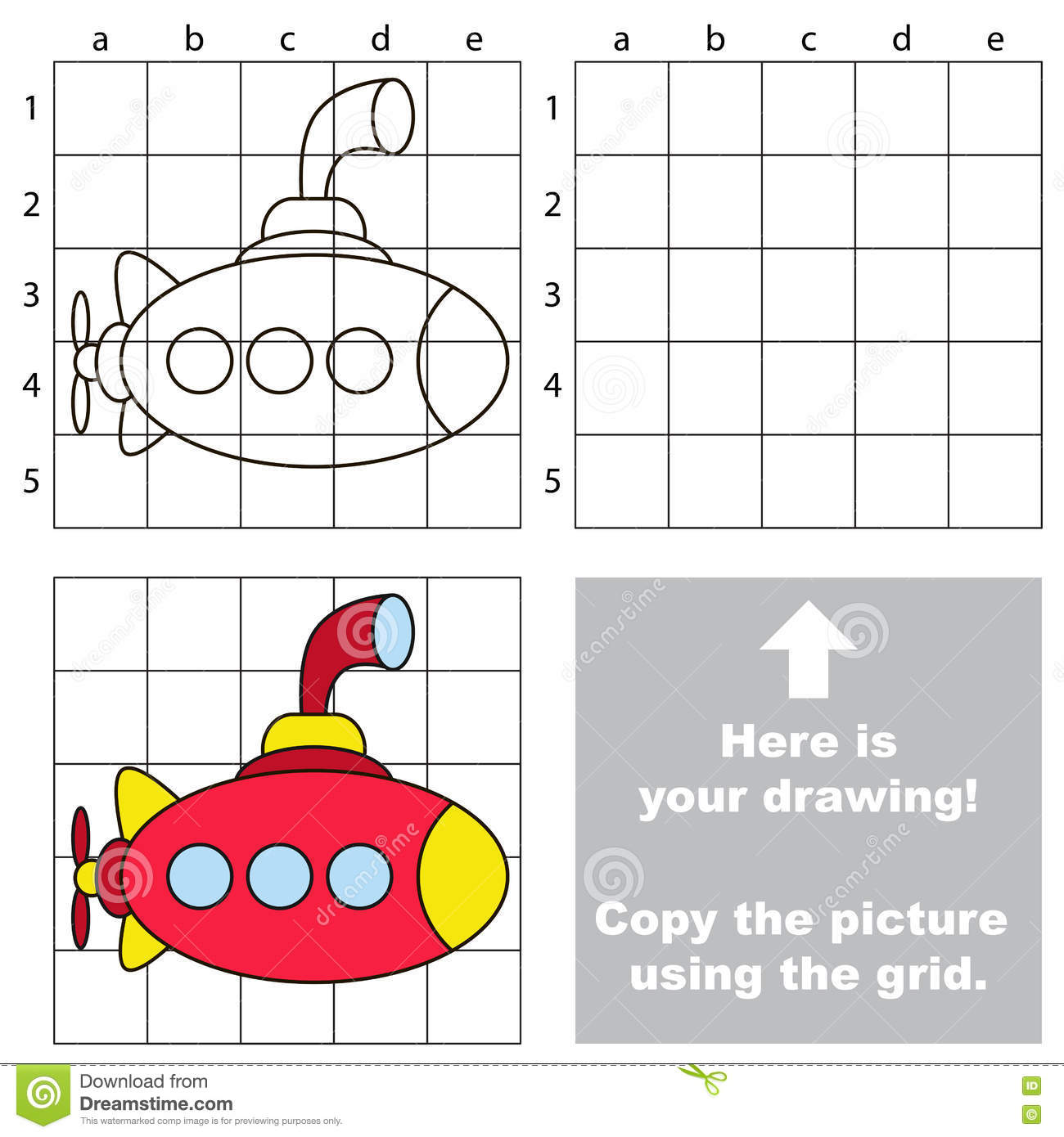 Vector Drawing Lines Game : Copy the image using grid submarine stock vector