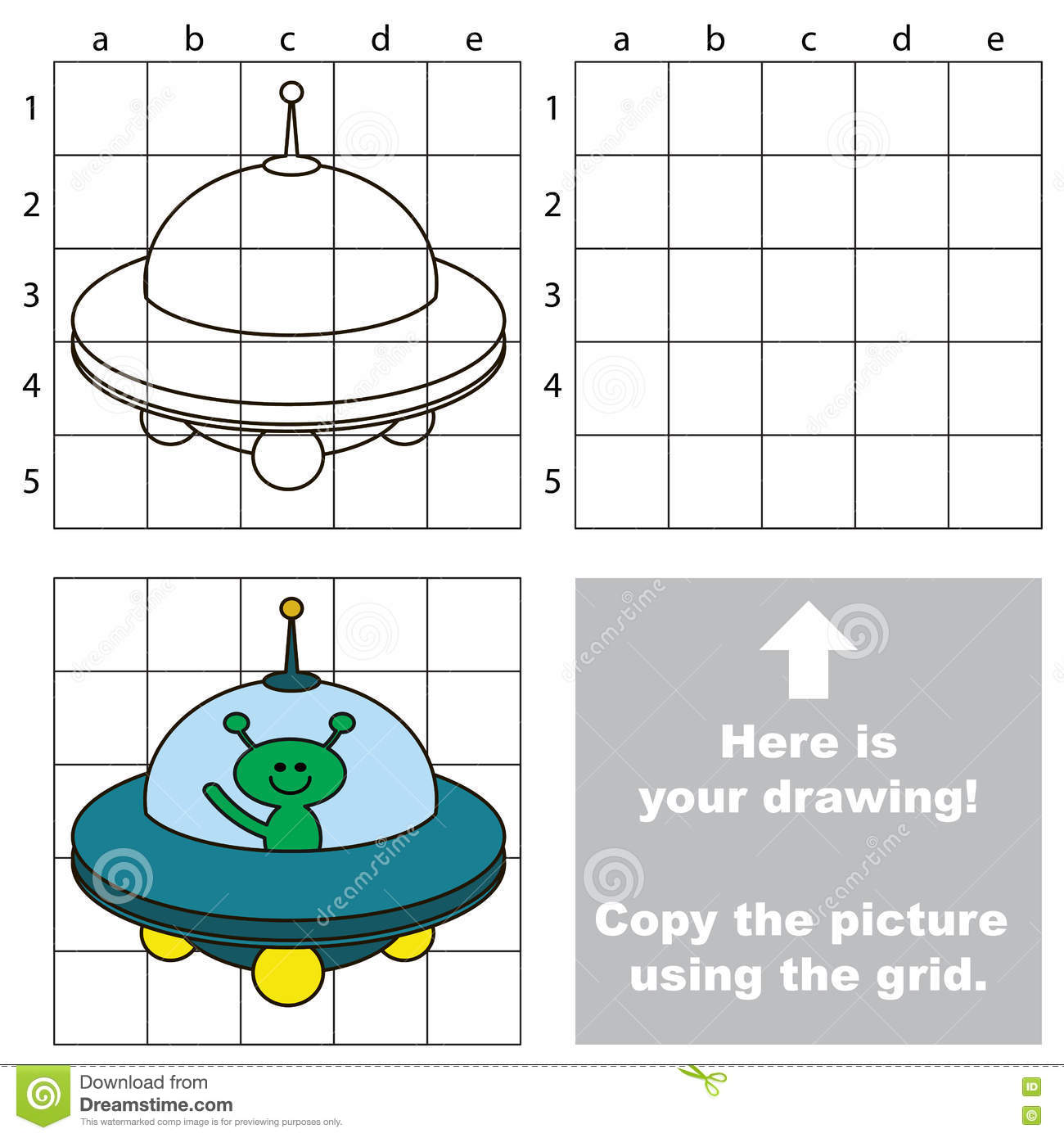 Copy The Image Using Grid Ufo Stock Vector Illustration Of