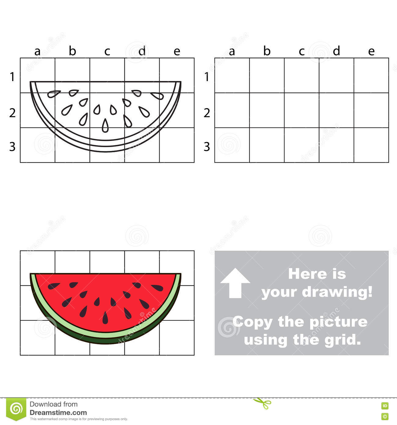 Copy The Image Using Grid Watermelon Slice Stock Vector