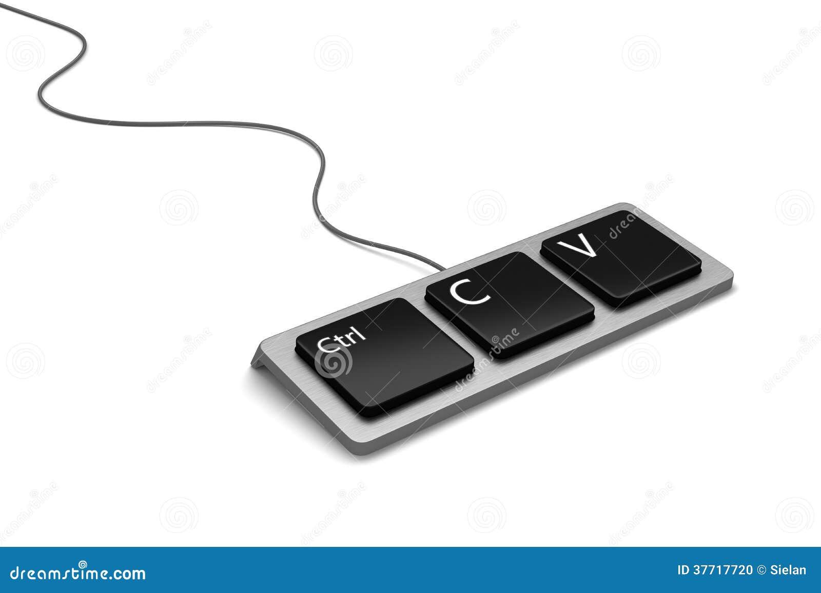 Copy Paste Keyboard Plagiarist Tool Stock Illustration