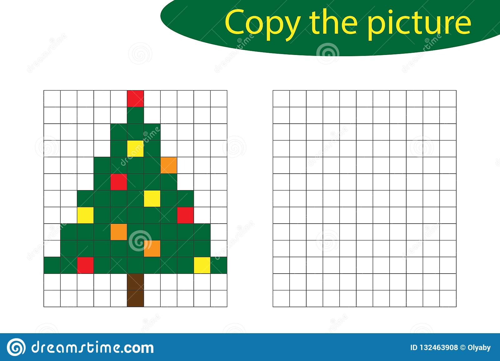 Copy The Picture Pixel Art Christmas Tree Cartoon Drawing