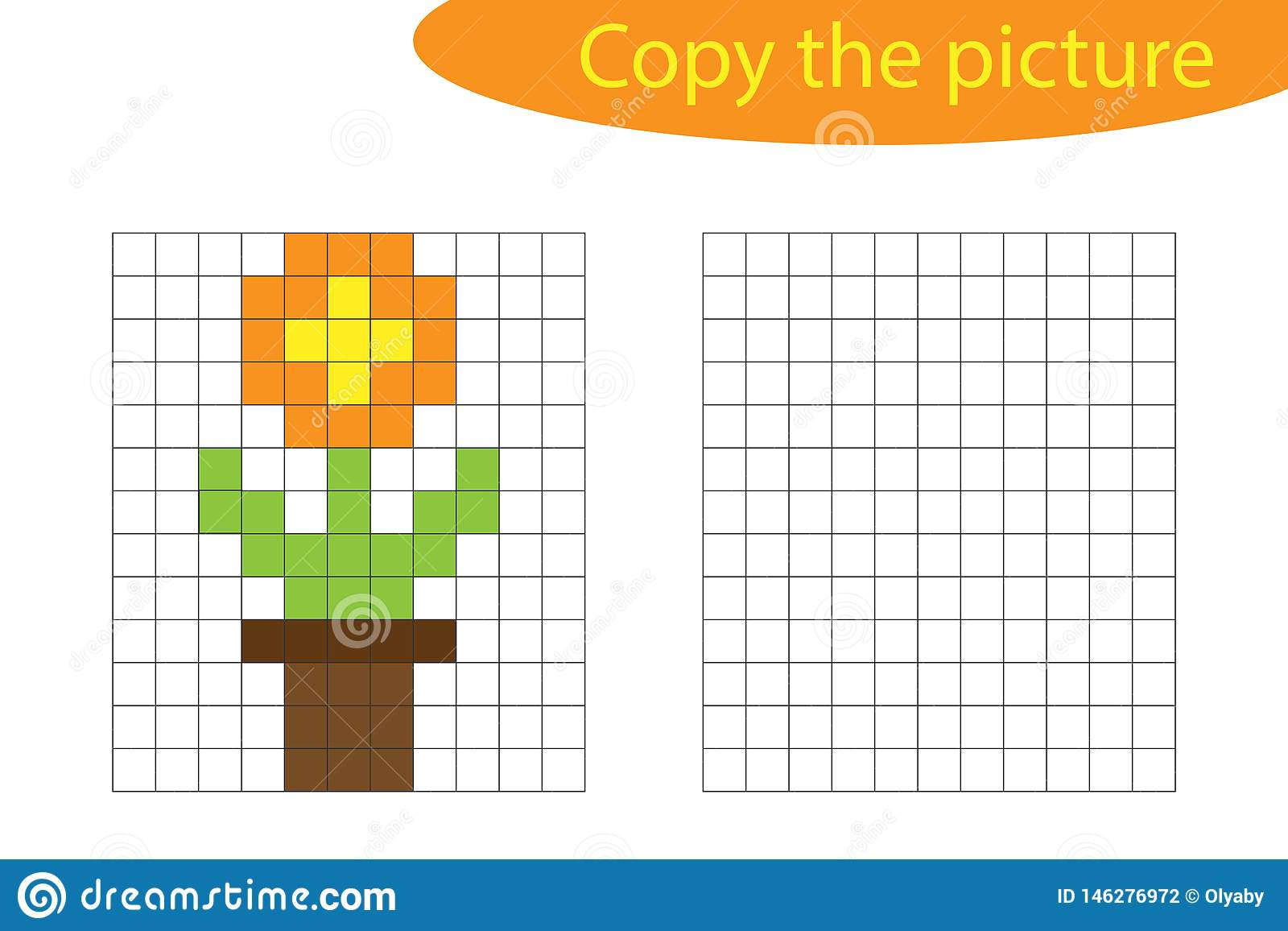 Copy The Picture Pixel Art Flower In Pot Cartoon Drawing Skills