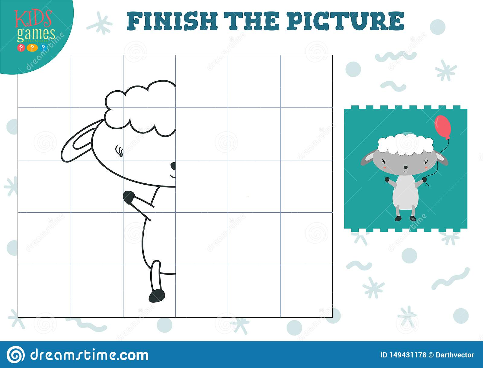 Copy Picture Vector Illustration. Complete And Coloring Game ...