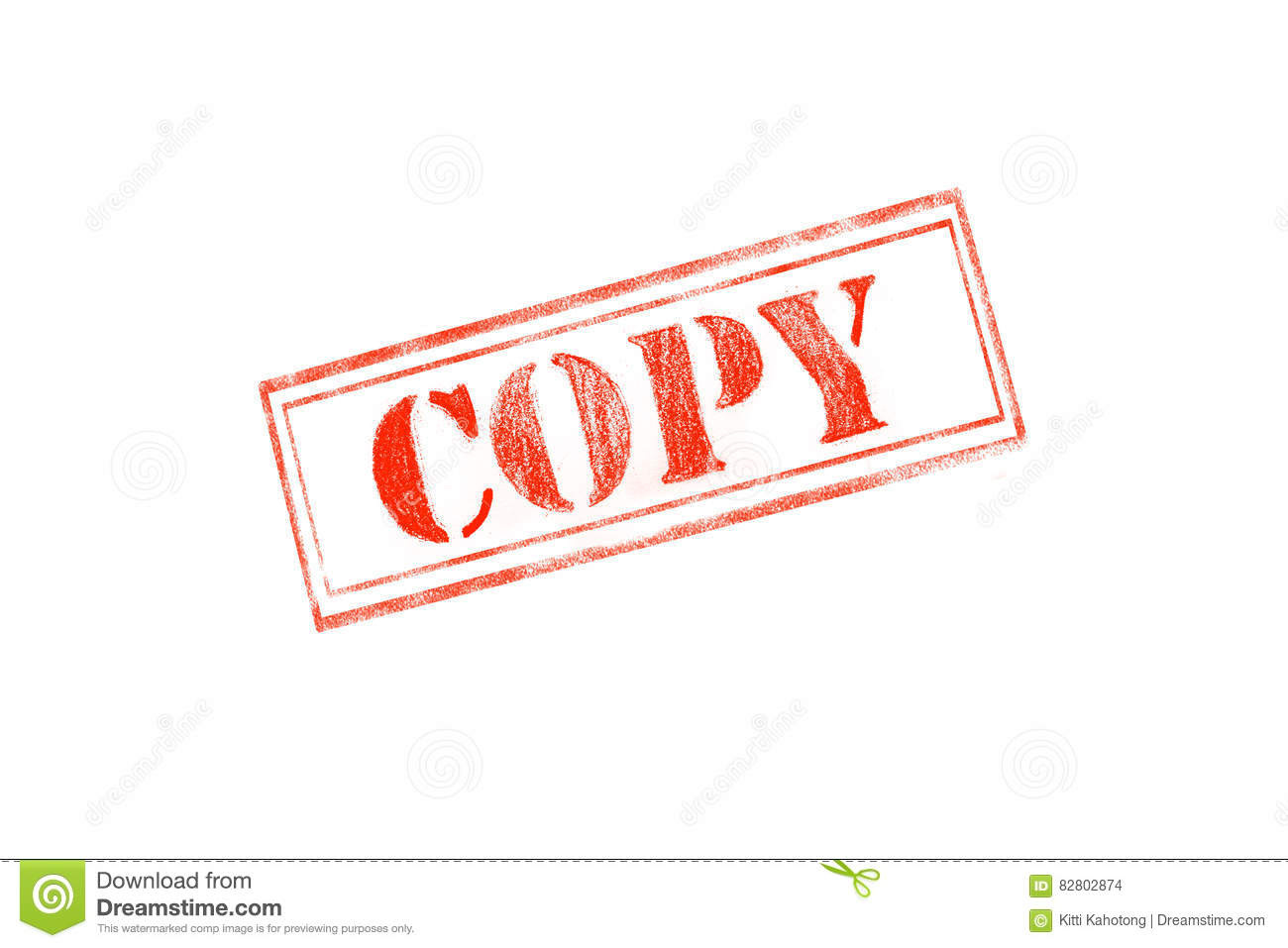 COPY Rubber Stamp Over A White Background