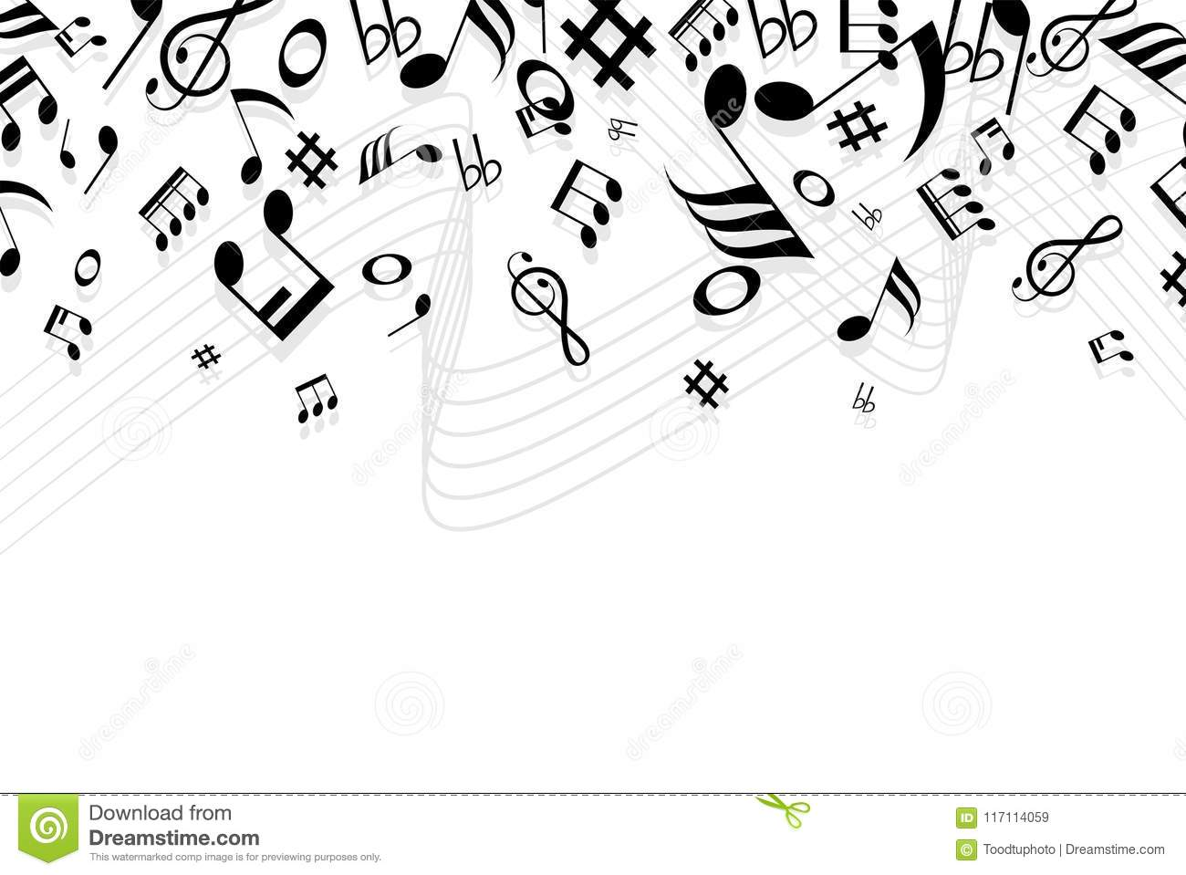 Copy Space Conceptsilhouette Music And Notes Icon Of Set With Isolated On White Background