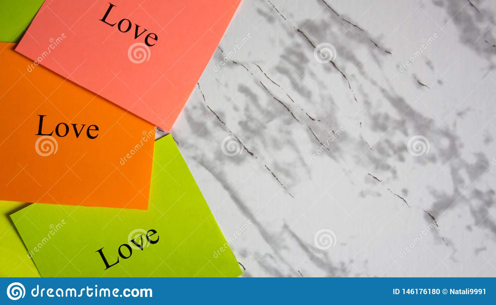 Copy space, creativity, project, art. Vision board. Motivational words on colorful stickers on a marble table. Business plan,