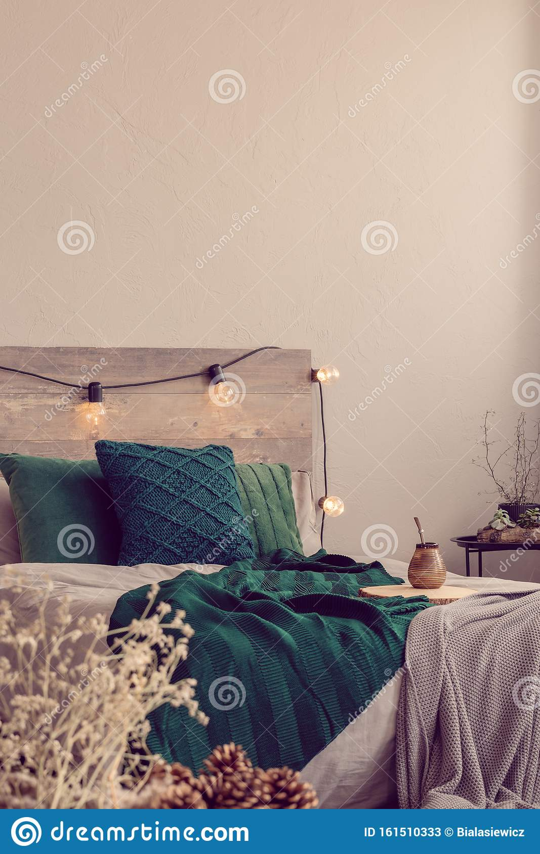 Grey Bedroom With Fashionable Bed With Emerald Green And Grey Bedding Stock Image Image Of Comfy Condo 161510333
