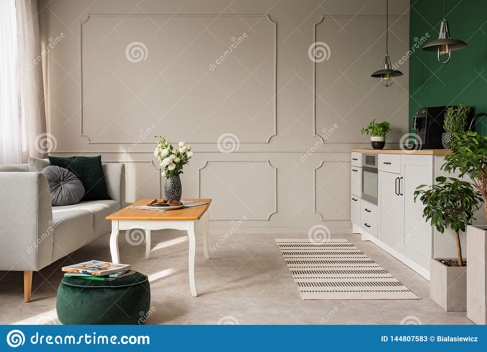 Empty Wall Of Small Kitchen And Living Room Interior Stock Image