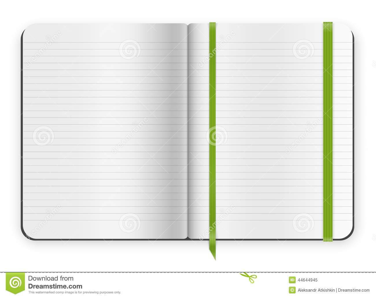 Copybook template stock vector illustration of elastic for Moleskine book journal template