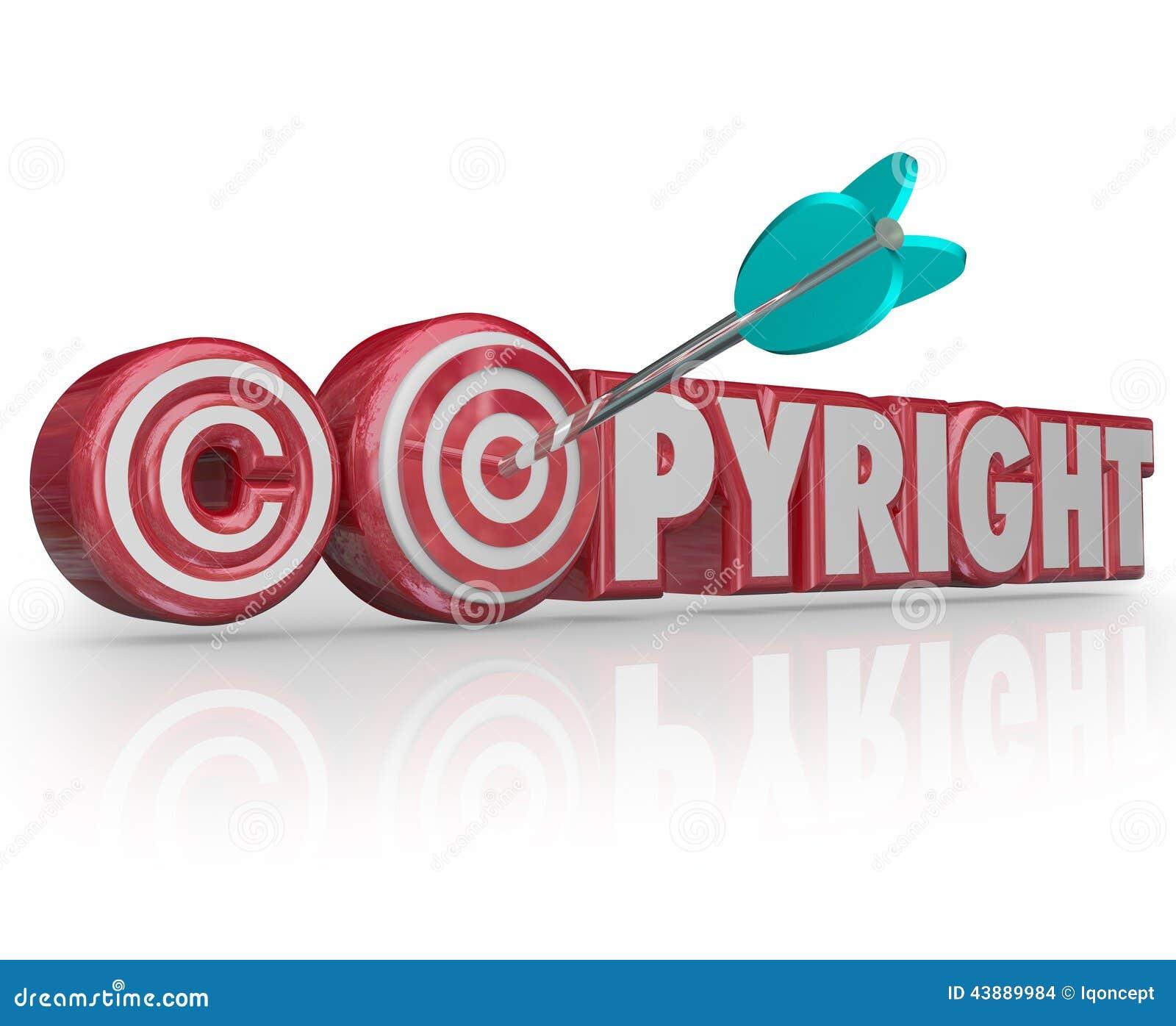Copyright Red 3d Words Legal Symbol Target Arrow Bulls Eye Stock