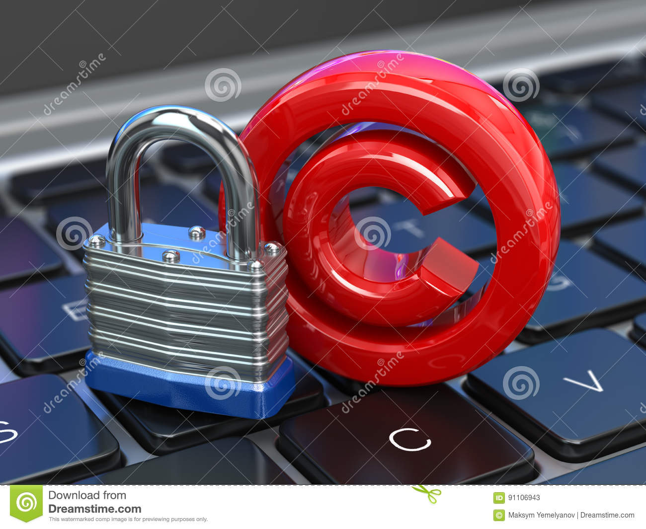 Copyright Sign With Lock On The Laptop Keyboard Intellectual Pr