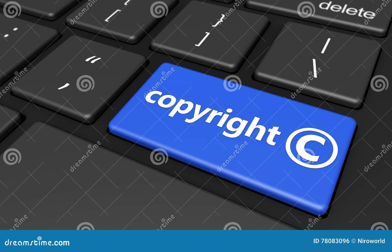 Copyright Symbol On Computer Keyboard Stock Illustration