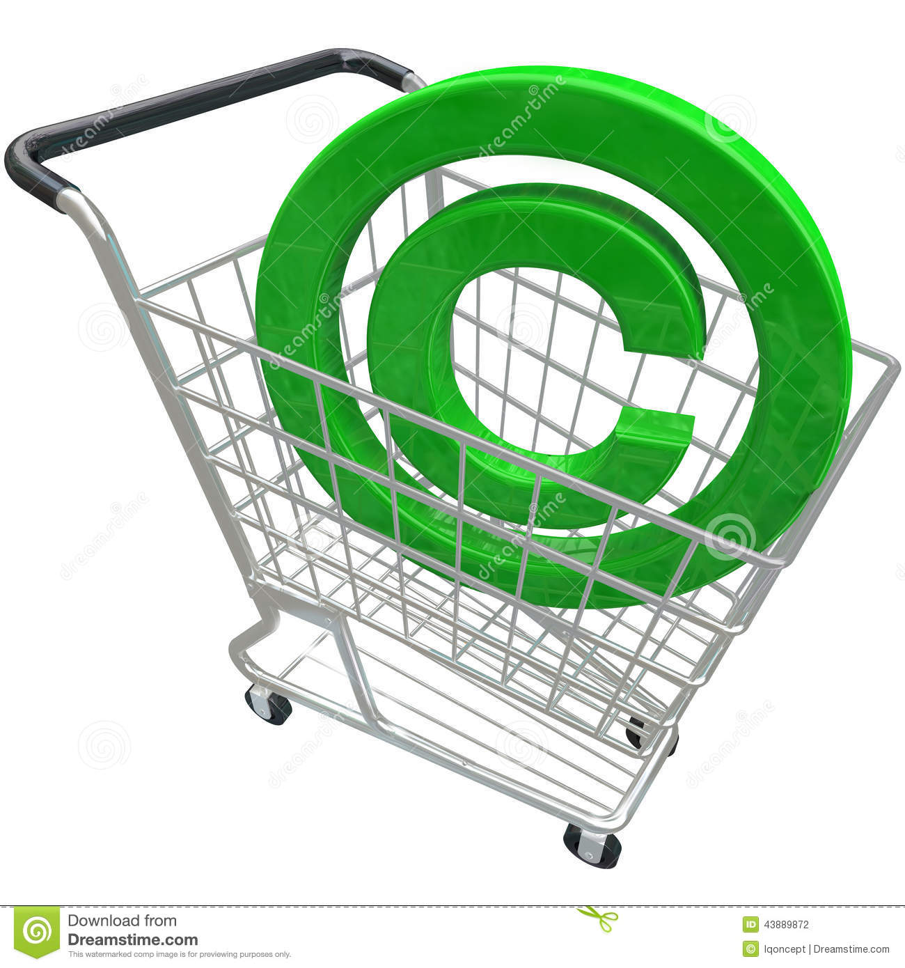 Intellectual Property Protection: Copyright Symbol 3d Shopping Cart Intellectual Property