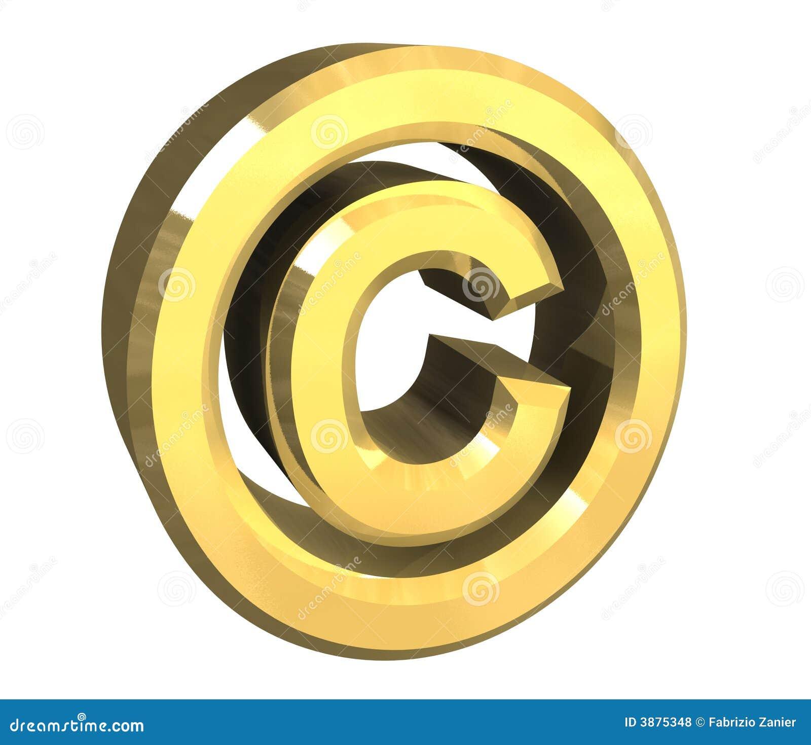 Copyright Symbol In Gold 3d Illustration 3875348 Megapixl